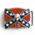 Confederate Flag with Skull Belt Buckle