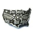 The South Will Rise Again Belt Buckle - Antique Silver