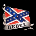 Rebel with Confederate Flag Belt Buckle