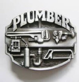 Plumber Belt Buckle -Antique Silver