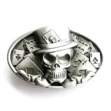 Skull Card Player Belt Buckle