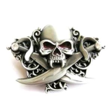 Skull with Swords Belt Buckle