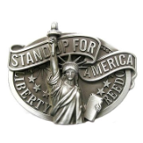 Stand Up For American Belt  Buckle - Antique Silver