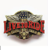 Live To Ride Belt Buckle - Antique Brass