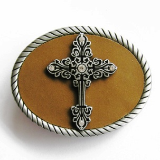Cross with Roped Edge Belt Buckle