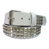 Pyramid Studded White Leather Belt