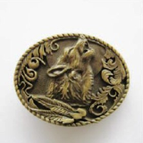 Wolf Shout Belt Buckle - Antique Brass