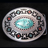 Native American Belt Buckle with Blue Stone