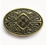 Celtic Knot Oval Belt Buckle - Antique Brass