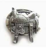 Saddle & Horseshoe Belt Buckle - Silver Plated