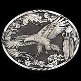 Soaring Eagle Diamond Cut Belt Buckle