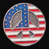 Round USA Peace Sign Belt Buckle