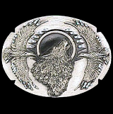 Wolf w/Eagles Diamond Cut Belt Buckle