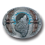 Wolf Framed by Eagles Belt Buckle