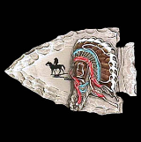 Indian Chief on Arrowhead Belt Buckle