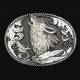 Howling Wolf Diamond Cut Belt Buckle
