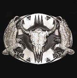 Buffalo Skull w/Eagles Diamond Cut Belt Buckle