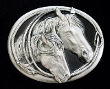 Horse Heads Diamond Cut Belt Buckle