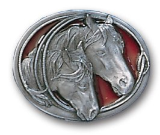 Horses Heads Belt Buckle