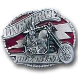 "Live to Ride ""Skeleton on Bike"" Belt Buckle"