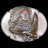 Indian Chief & Eagle Belt Buckle