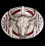 Buffalo Skull w/Feathers Belt Buckle