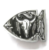 Arrowhead with Buffalo Skull Belt Buckle - Non Enamel Black