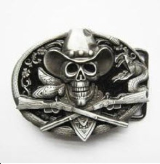 Western Pirate Skull Belt Buckle - Black