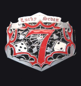 Lucky Seven on Web Belt Buckle