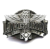 Live to Ride Belt Buckle - Antique Silver