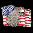 Eagle on American Flag Belt Buckle