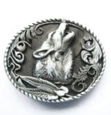 Wolf Shout Belt Buckle - Antique Silver