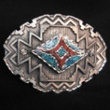 Western Belt Buckle w/Turquoise Inlay - Native American Design