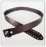 Dark Coffee Genuine Leather Belt with Rivets