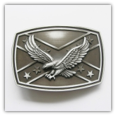 Eagle on Confederate Flag Belt buckle - Antique Silver