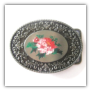 Western Oval Belt Buckle w/ Hand-Painted Rose