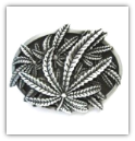 Marijuana Belt Buckle - Antique Silver