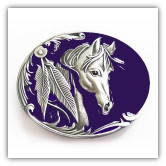 Goldtone Horse Head Belt Buckle- Blue