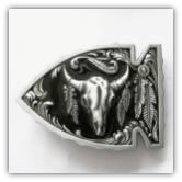 Arrowhead with Buffalo Skull Belt Buckle