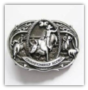 Championship Rodeo Belt Buckle - Antique Silver