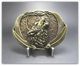 Wolf Belt Buckle - Antique Brass
