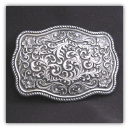 Western Scroll Style Rectangular Belt Buckle - Antique Silver