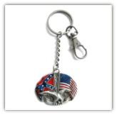 Confederate/American Flag with Dixie Key Ring