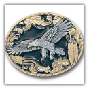 Eagle w/Feathers Gold Vivatone Belt Buckle