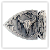 Buffalo Skull Diamond Cut Belt Buckle