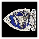 Buffalo Skull in Arrowhead Belt Buckle