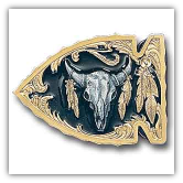 Buffalo Skull Arrowhead - Gold Vivatone Belt Buckle