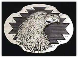 Eagle Head Diamond Cut Belt Buckle