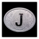 Western Monogram Initial 'J' Belt Buckle