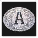 Western Monogram Initial 'A' Belt Buckle